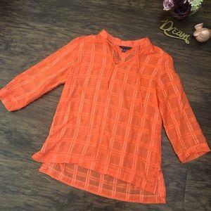 Tommy Hilfiger Orange Sheer Tunic  Top L